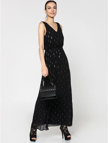 Black Self Print Maxi Dress