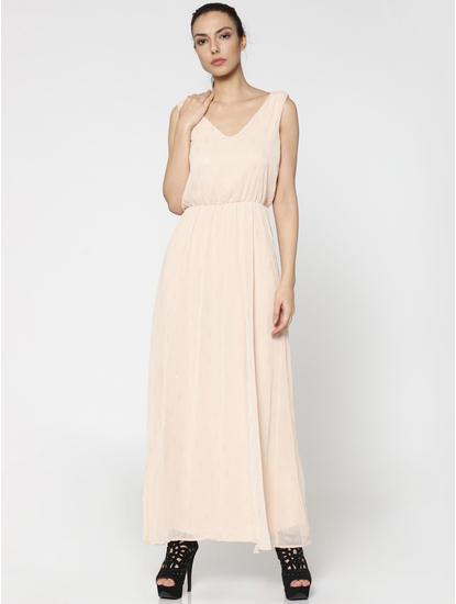 Beige Self Print Maxi Dress