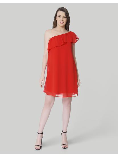 Red One Shoulder Ruffle Mini Dress