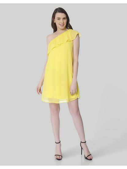 Yellow One Shoulder Ruffle Mini Dress