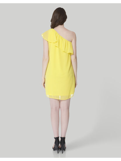 Yellow One Shoulder Ruffle Mini Dress