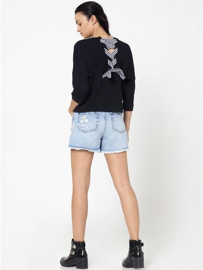 Black Back String Detail Sweatshirt