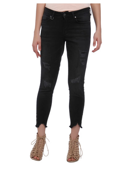 Black Eyelet Detail Regular Waist Skinny Fit Ripped Jeans