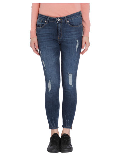 Dark Blue Distressed Super Low Skinny Fit Jeans