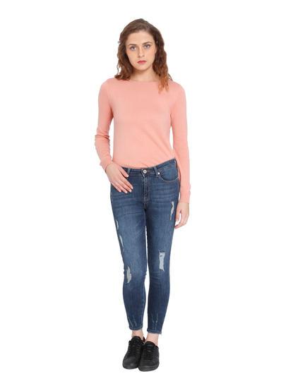 Dark Blue Distressed Super Low Skinny Fit Jeans