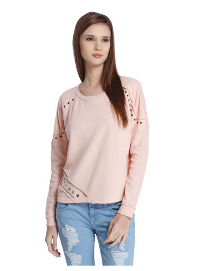 Peach Grommet Detail Sweatshirt