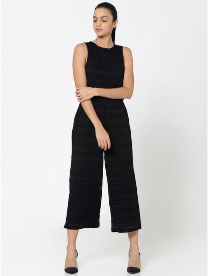 Black Keyhole Back Lace Culotte Jumpsuit