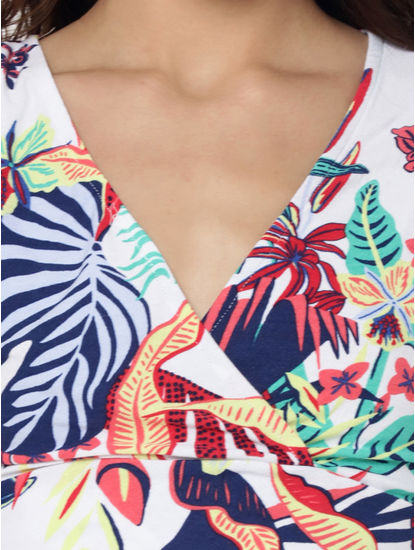 White Tropical Print Wrap Crop Top