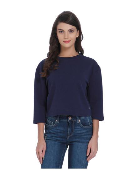 Blue Ruffle Detail Sweatshirt