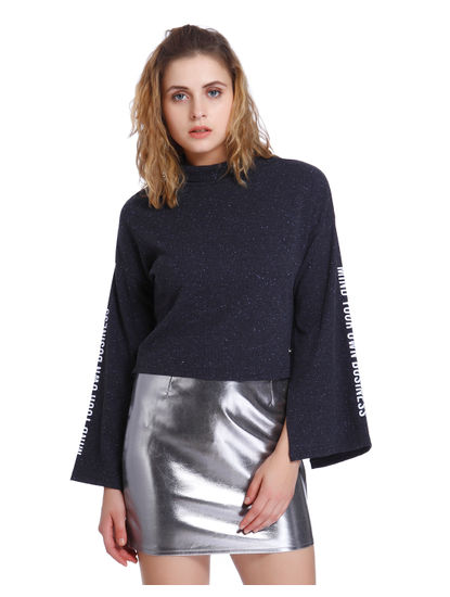 Dark Blue Shimmery Text Print Short Sweatshirt