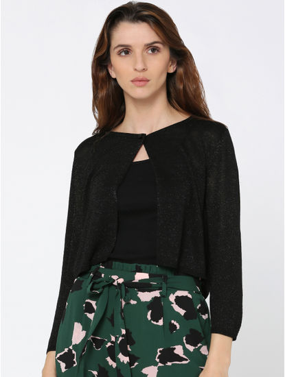 Black Shimmer Cropped Cardigan
