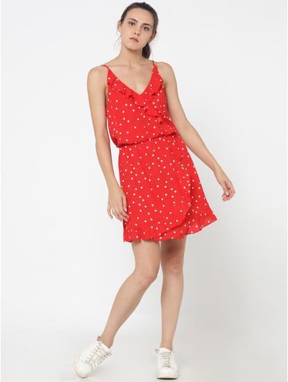 Red Polka Dot Spaghetti Strap Mini Dress