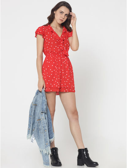 Red Ruffle Detail Polka Dot Playsuit