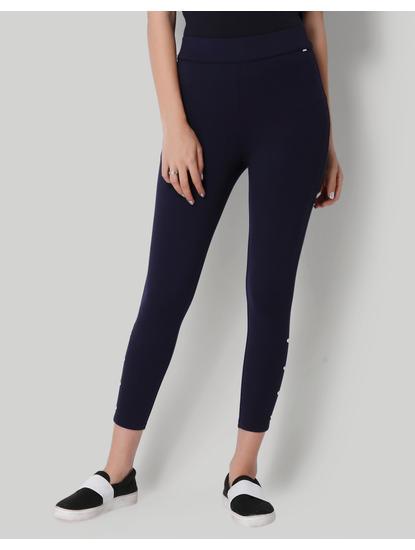 Dark Blue Button Detail Leggings