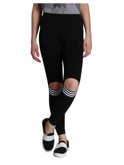 Black Front Knee Slit Leggings