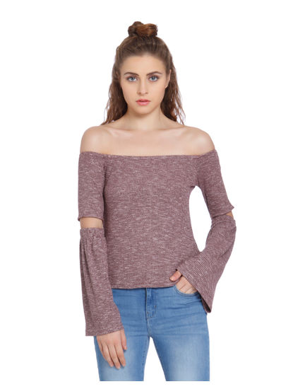 Brown Off Shoulder Split Sleeves Top