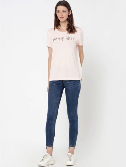 Pink Camo and Sequinned Text Print T-Shirt
