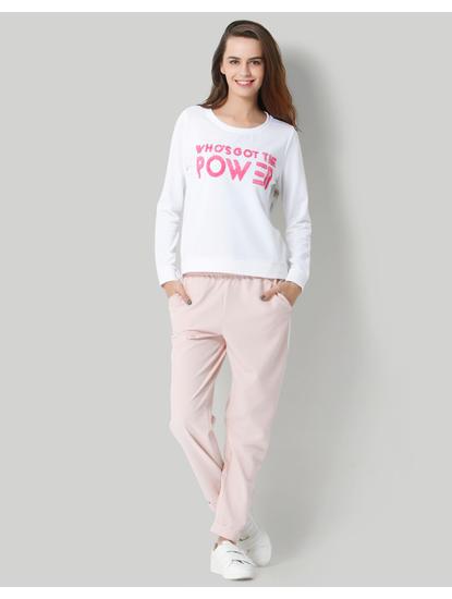 White Slogan Print Pullover