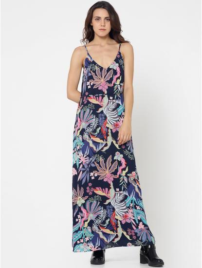 Dark Blue Tropical Print Maxi Dress