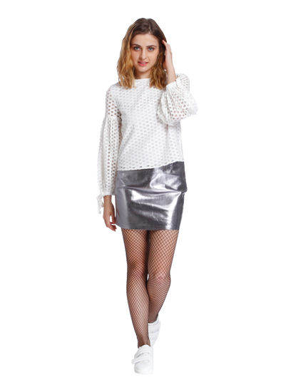 White Mesh Grid Style Top