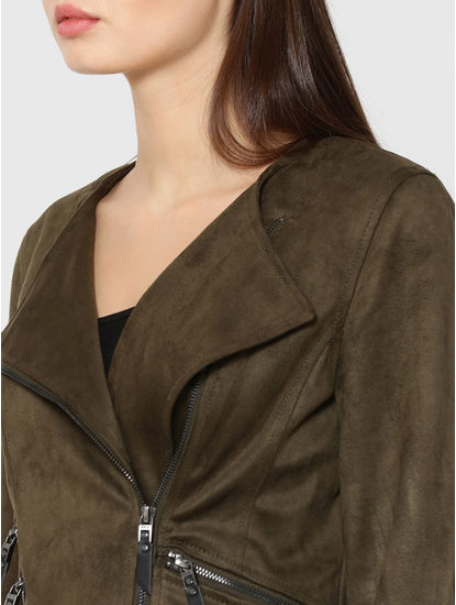 Olive Green Faux Suede Cropped Biker Jacket