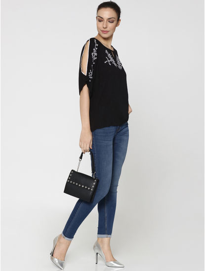 Black Floral Embroidered Split Sleeves Top