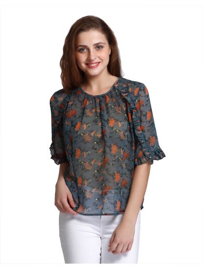 Blue Print Frill Sleeves Top