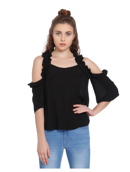Black Cold Shoulder Frill Detail Top