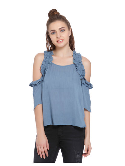 Blue Frill Detail Cold Shoulder Top