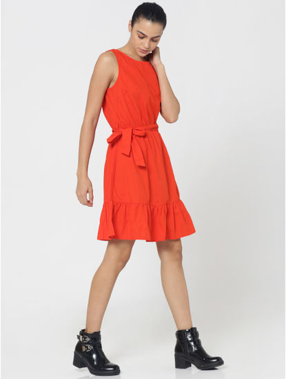 Bright Red Fit and Flare Dress