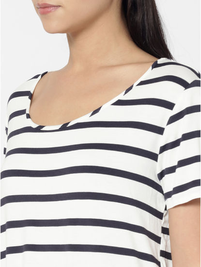 White Striped Front Tie Top