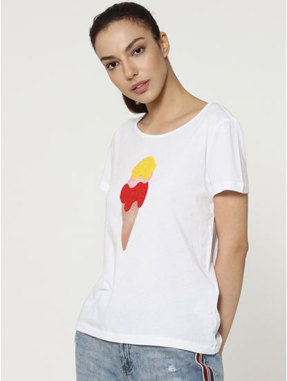 White Icecream Cone Print T-Shirt