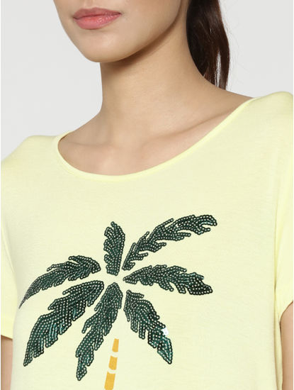 Yellow Sequinned Palm Print T-Shirt