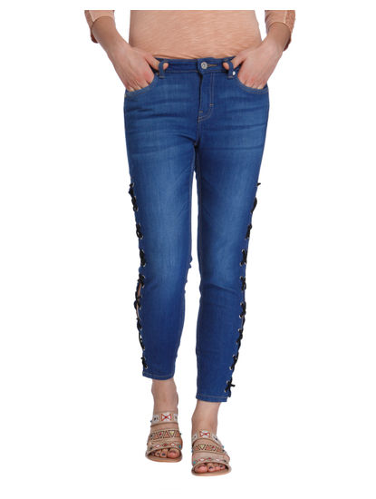 Blue Criss Cross Detail Mid Rise Skinny Fit Jeans
