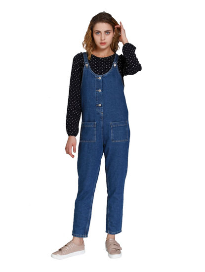 Blue Pocket Detail Denim Jumpsuit