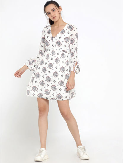 White Printed Fit & Flare Dress