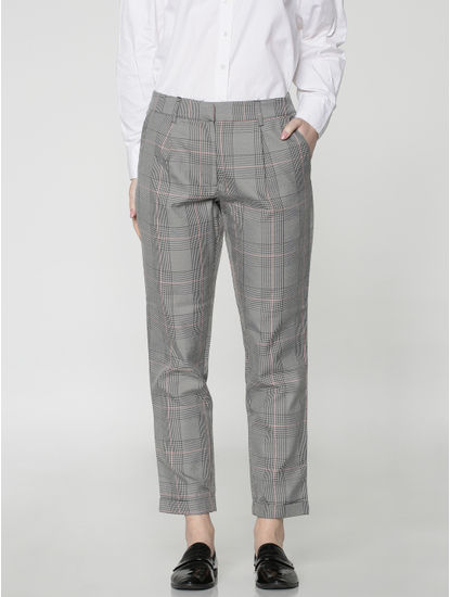 Grey Mid Rise Checks Ankle Length Comfort Fit Pants