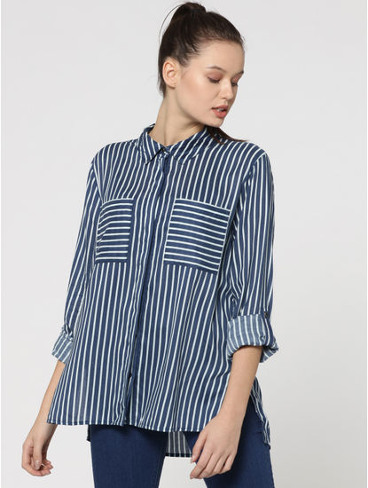 Dark Blue Two Pocket Striped Shirt