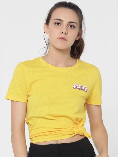 Yellow HONEY Print T-Shirt
