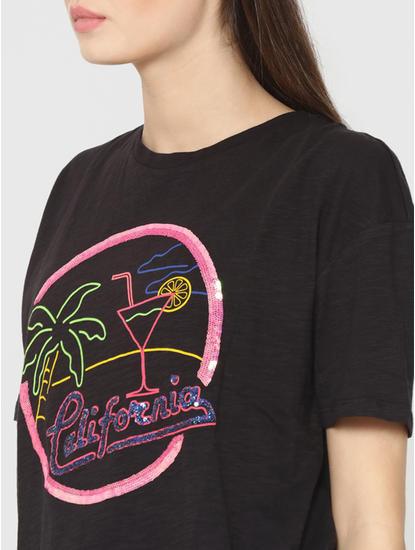 Black Sequinned Text Print T-Shirt