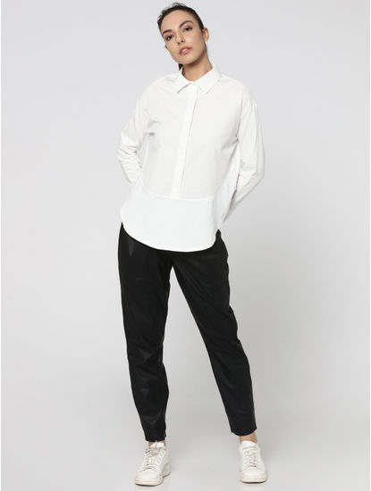 White Rounded Hem Shirt