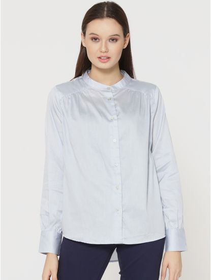 Light Blue Mandarin Collar Shirt