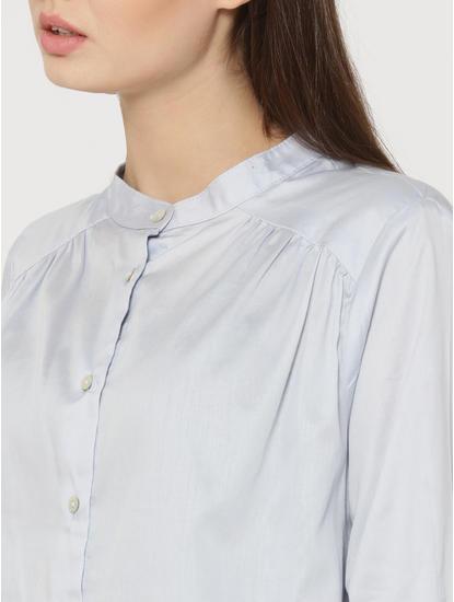 Light Blue Mandarin Collar Shirt
