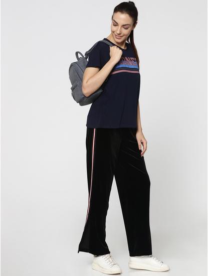 Dark Blue Striped HONEY Print T-Shirt