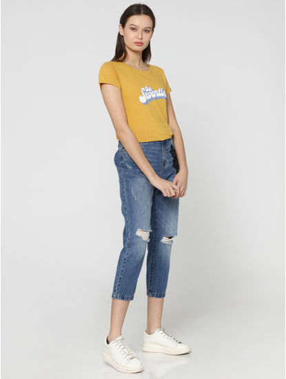 Mustard Text Print T-Shirt