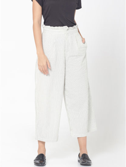 White Striped Mid Rise Flared Cropped Pants