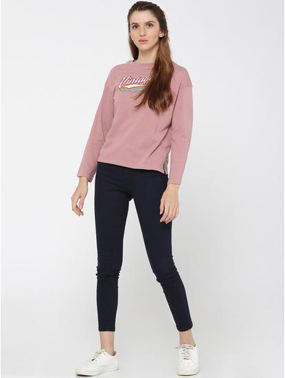 Pink Glitter Text Print Sweatshirt
