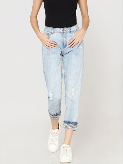 Light Blue Mid Rise Distressed Embellished Boyfriend Jeans