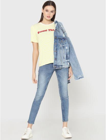 Light Yellow Striped Text Print T-Shirt