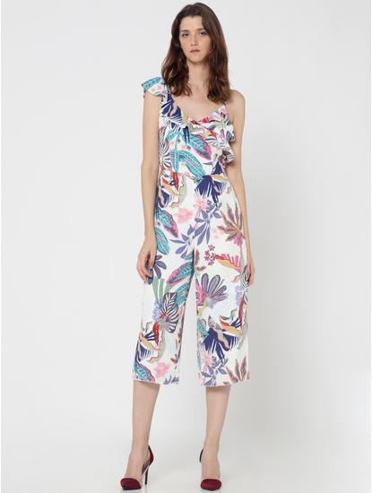 White Tropical Print Culotte Jumpsuit